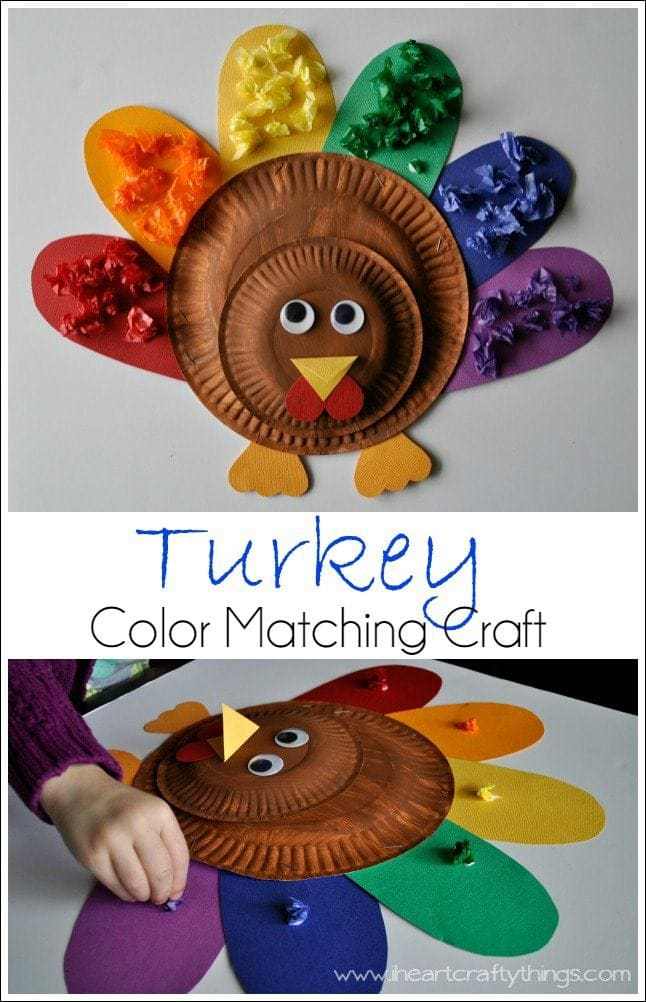 Cute and colorful kids turkey craft with color matching for Thankful crafts for kids