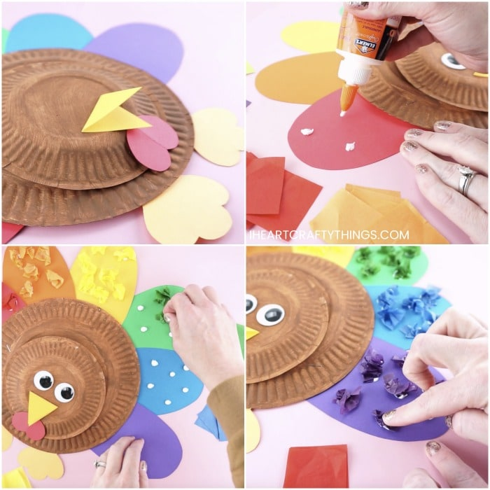 Four image collage showing a person gluing the beak, snood and feet on the paper plate turkey and then gluing tissue paper feathers onto the paper plate turkey.