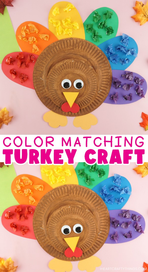 """Vertical two image collage of finished paper plate turkey craft with the text """"color matching turkey craft"""" in the center of the images in a white box."""