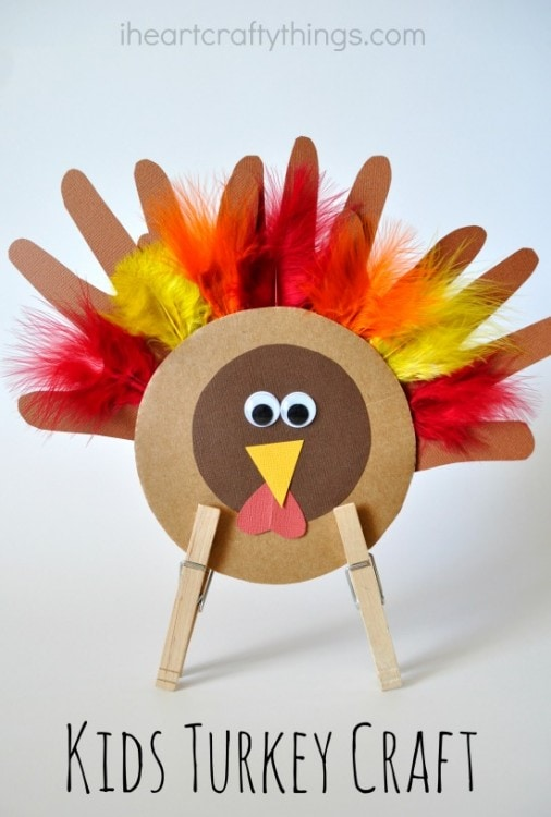 Thanksgiving kids turkey craft i heart crafty things for Thanksgiving preschool activities and crafts