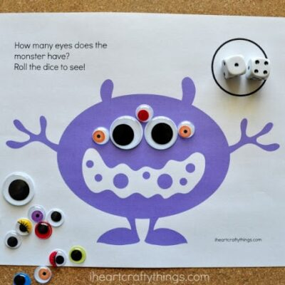 Monster Eyes Counting Game Preschool Printable