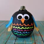 Colorful No-Carve Owl Pumpkins