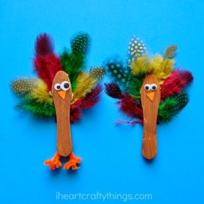 Scoop Stick Turkey Craft for Kids