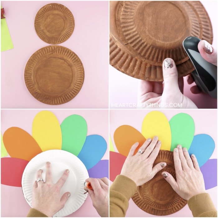 Four image collage showing the painted small and large paper plate, how to staple them together to make the turkey and how to glue the rainbow feathers around the paper plate turkey.