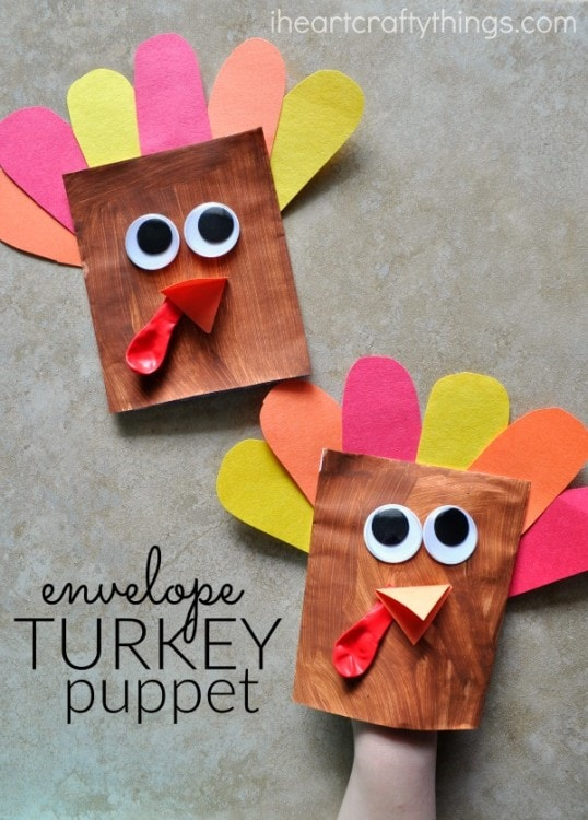 Adorable envelope turkey puppet i heart crafty things for November crafts for kindergarten