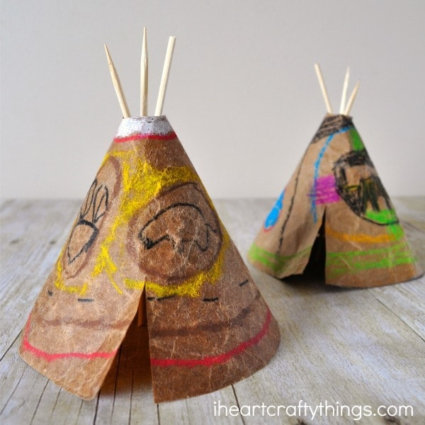 Diy faux leather teepee craft for kids i heart crafty things for Teepee craft template
