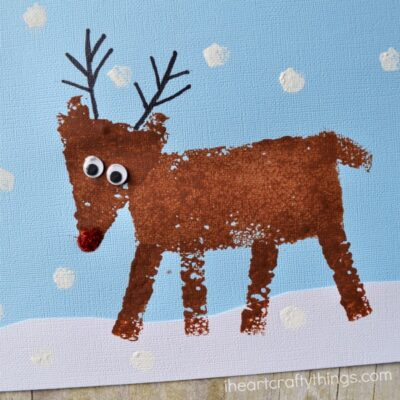 Sponge Painted Reindeer Craft for Kids