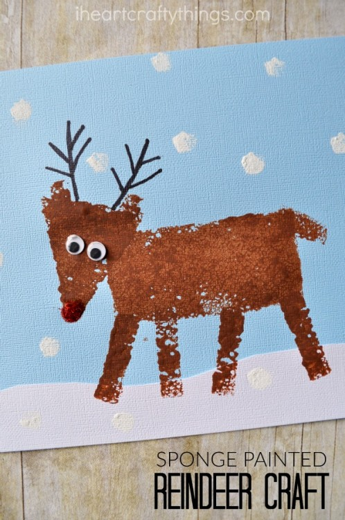 rudolph craft ideas sponge painted reindeer craft for i crafty things 2857