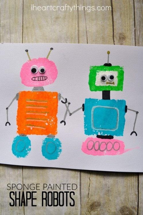 Sponge Painted Shape Robots Craft I Heart Crafty Things