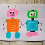 Sponge Painted Shape Robots Craft