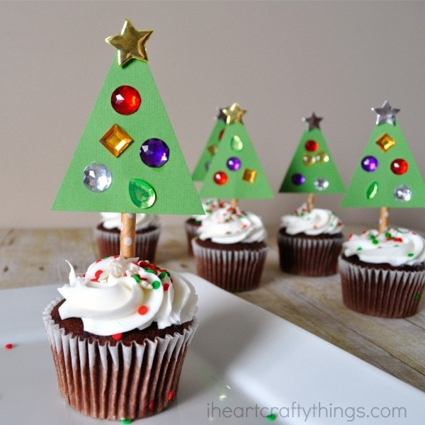 Diy Christmas Tree Cupcake Toppers