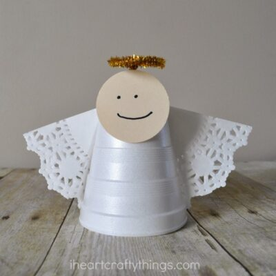 Foam Cup Christmas Angel Craft
