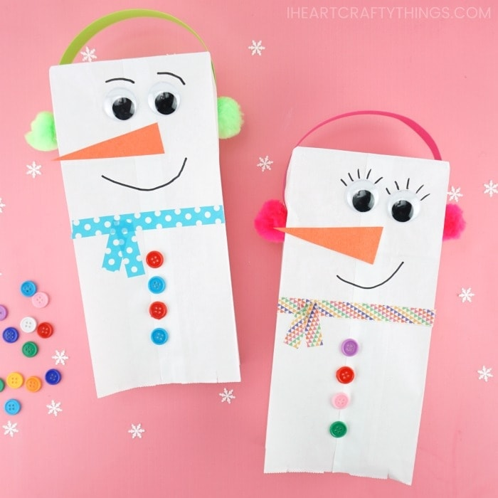 paper bag snowman craft puppet