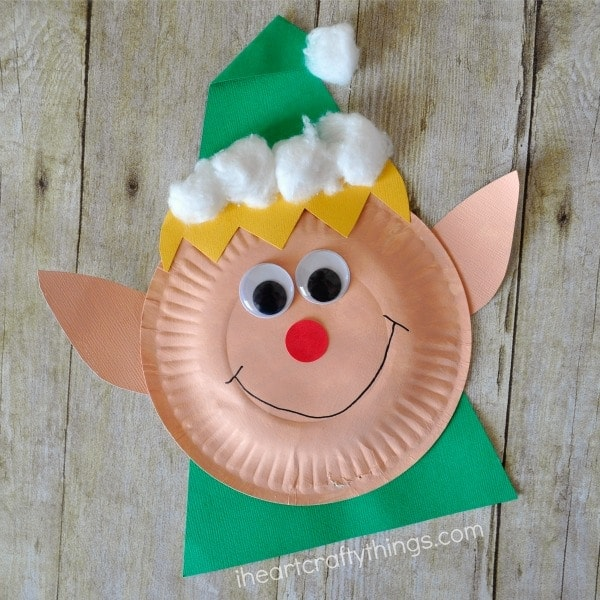 Paper plate christmas elf craft i heart crafty things
