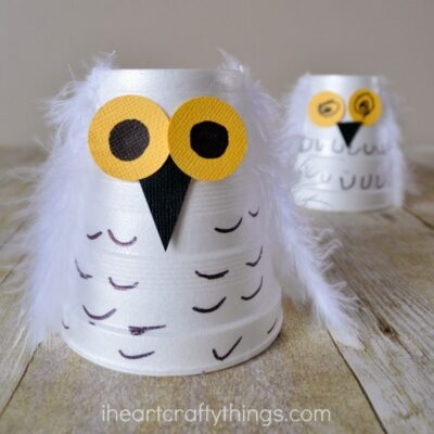 Foam Cup Snowy Owl Kids Craft