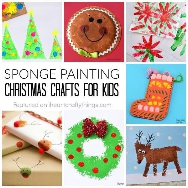 Sponge painting christmas crafts for kids i heart crafty for Sponge painting for kids pictures