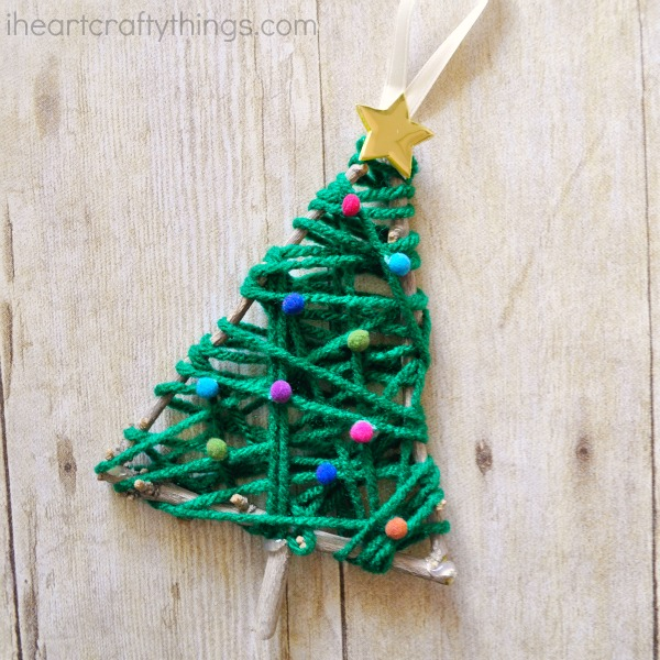 how to make a yarn wrapped christmas tree twig ornament