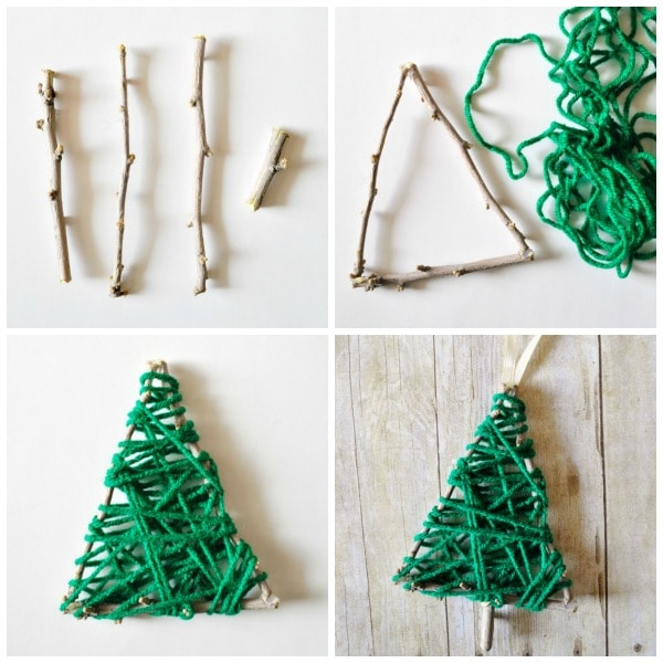 yarn wrapped christmas tree twig ornament