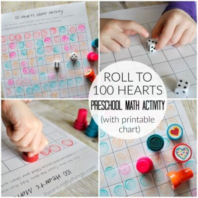 100 Hearts Preschool Math Activity
