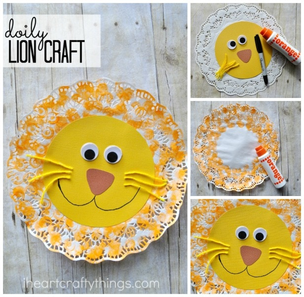 doily lion kids craft i heart crafty things