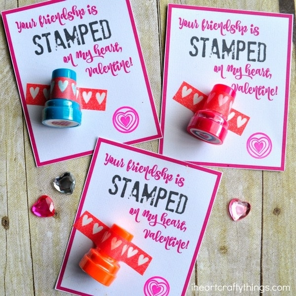 Heart Stamper NonCandy Valentine with Printable – Candy Valentine Card