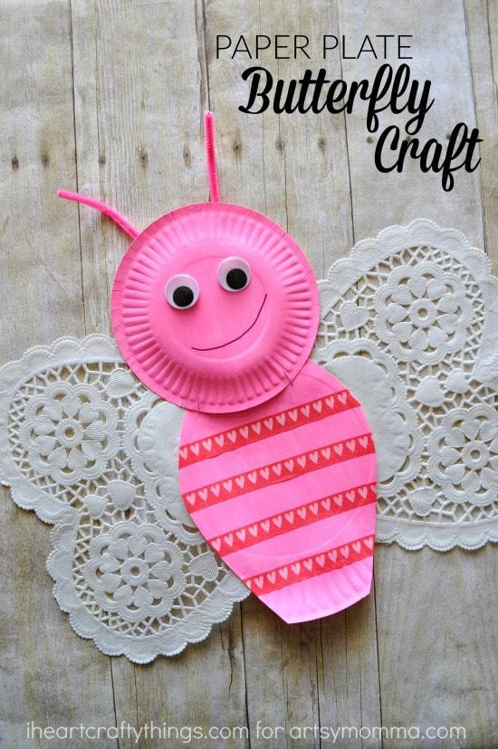 Simple paper plate and doily butterfly craft i heart for Things to make arts and crafts
