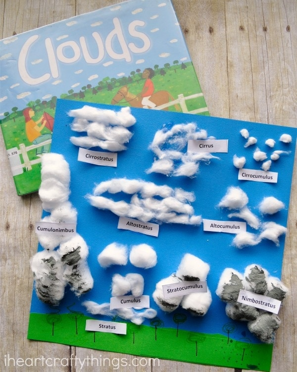 Finished cotton ball cloud craft laying on top of book called Clouds.