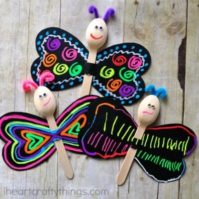 Spoon Butterfly Kid Craft with Fun Chalk
