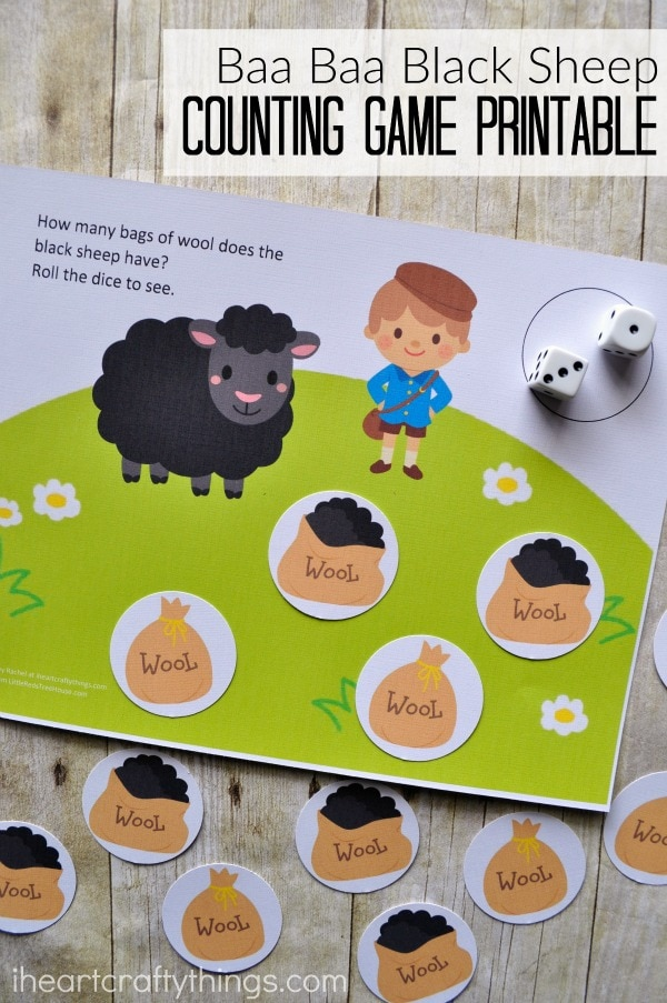 """Vertical image of counting game set up with the text """"Baa Baa Black Sheep Counting Game Printable"""" in the top right corner."""