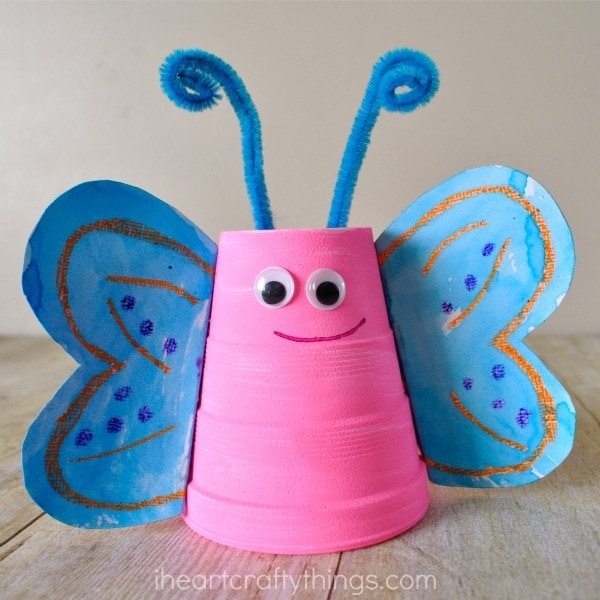 Foam cup butterfly craft i heart crafty things for Best out of waste for class 1