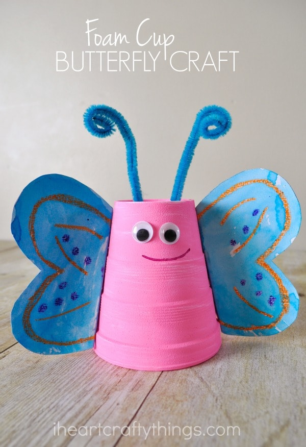 "Pink and blue butterfly craft with the words ""Foam Cup Butterfly Craft"" in the top center."