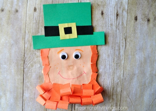 Close up image of completed leprechaun puppet.