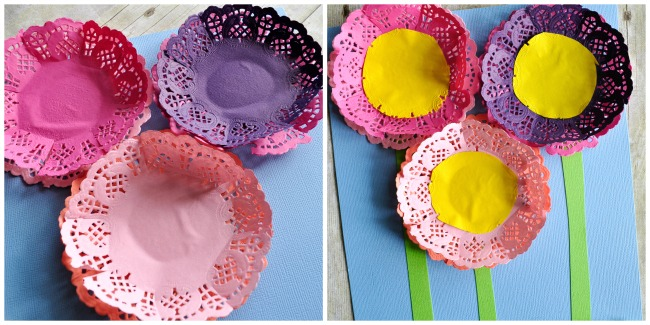 Two image collage showing how to glue the paper doilies on the blue cardstock paper, and then how to glue the yellow circle and stems onto the flowers.