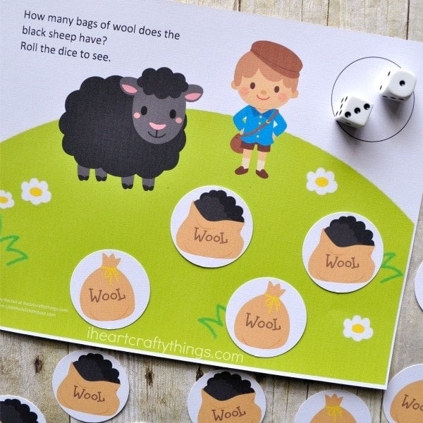 Close up image of baa baa black sheep counting game.