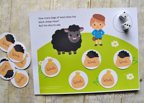 Example of how to use the preschool counting game printable.