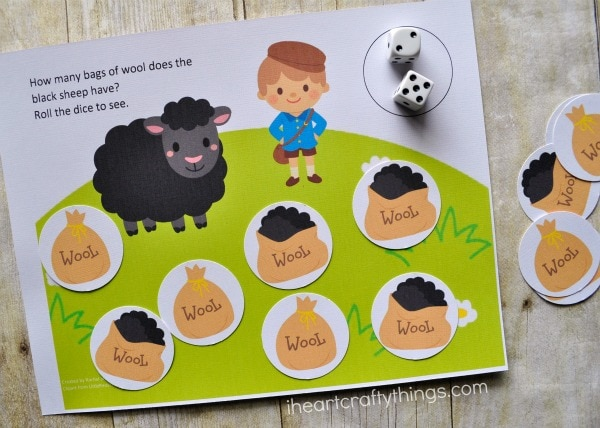 Example showing how a child uses the sheep counting game printable.