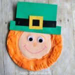Square image of finished puffy paint leprechaun craft.