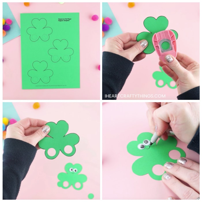 Four image collage showing the printed out shamrock puppets template, how to cut out the holes in the shamrock puppets, and how to add googly eyes and draw a smile on your shamrock finger puppets.