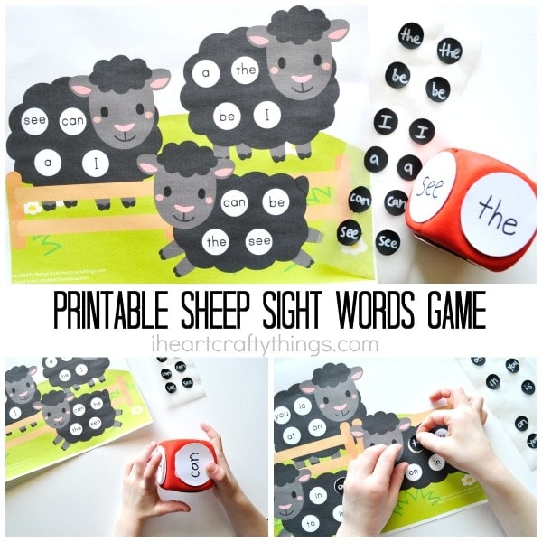 """Three image photo collage showing a child using the sight words game with the text """"Printable Sheep Sight Words Game"""" in the center of the photos."""