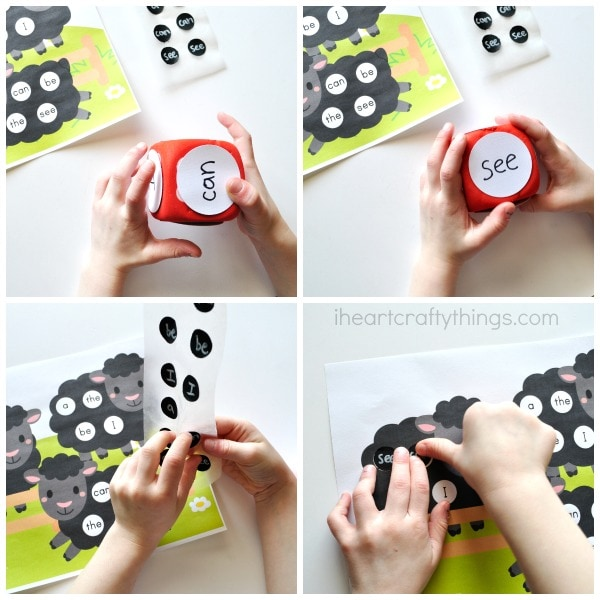 Four image collage photo showing a child tossing the foam dice, finding the correct word and placing it on the sight words printable.