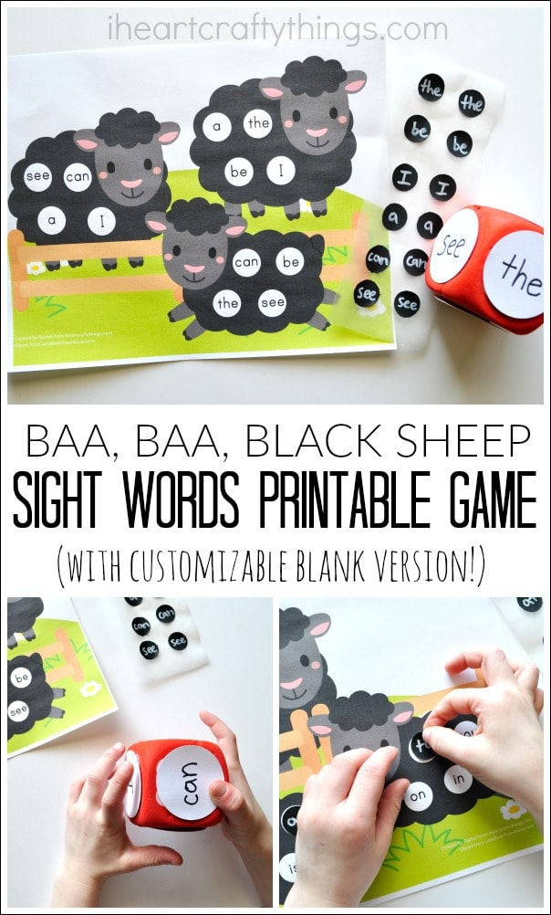 """Three image photo collage showing child using the printable with the words """"Baa, Baa Black Sheep, Sight Words Printable Game"""" in the center."""