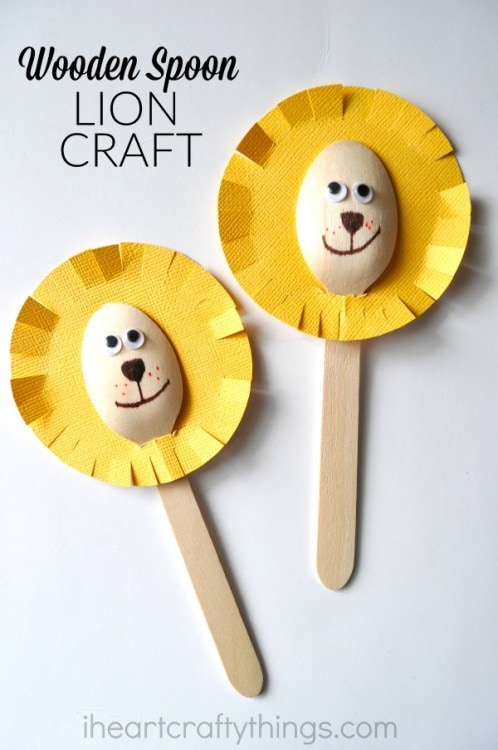Adorable wooden spoon lion craft i heart crafty things for Wood craft ideas for kids