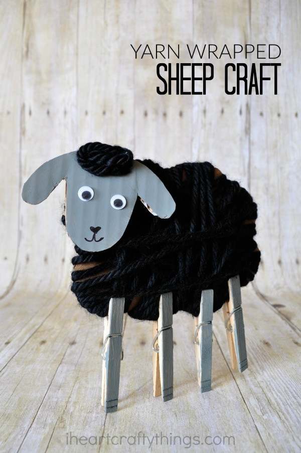 "Vertical image of kids sheep craft with the words ""Yarn Wrapped Sheep Craft"" in the top right corner."