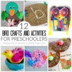 collage image showing 6 bird crafts and activities for preschoolers.