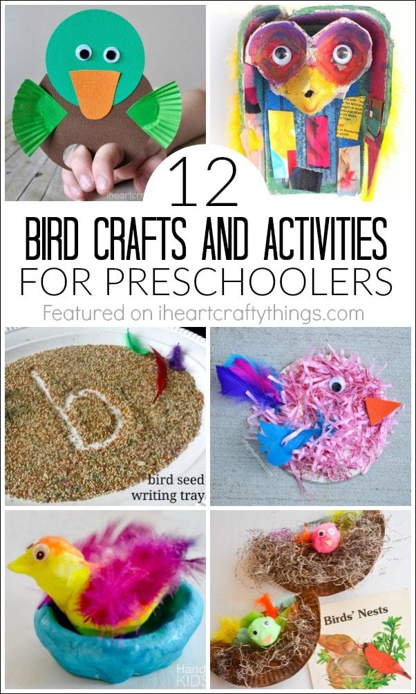 vertical image showing bird crafts and activities for preschoolers.