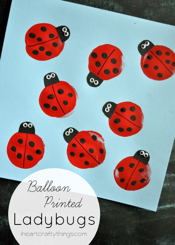 """vertical image of ladybug craft with the words """"balloon printed ladybugs"""" in the bottom left corner."""