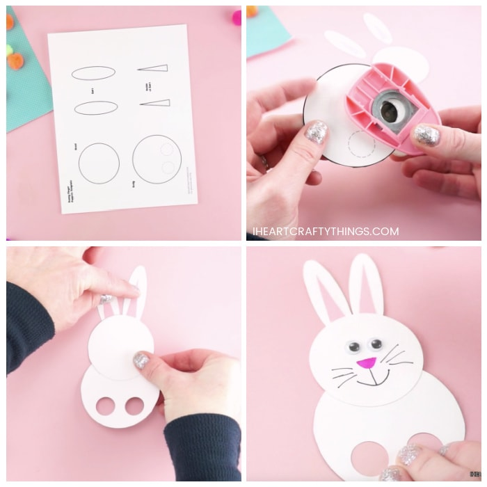 Four image collage showing the printed bunny finger puppets template and how to cut out the template and assemble it together.