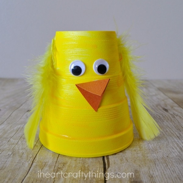Close up image of finished foam cup chick craft.