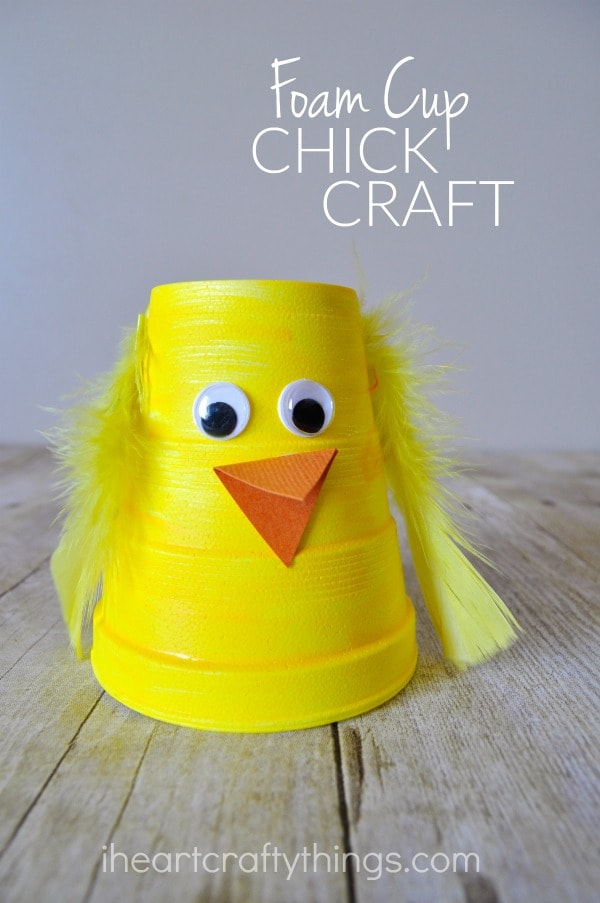"""Vertical close up image of finished chick craft with the words """"foam cup chick craft"""" in the upper right corner."""