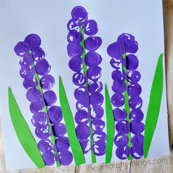 Close up square image of the finished hyacinth flower craft.